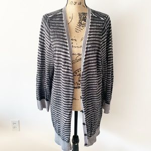 Torrid Cardigan | Gray Black Striped Sz 3